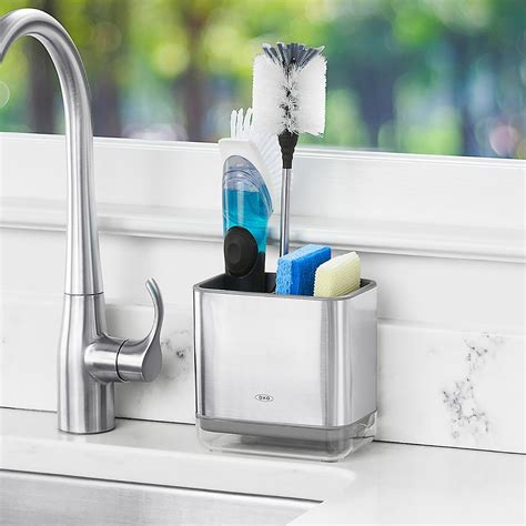 kitchen sink caddies oxo stainless steel sink caddy the container store