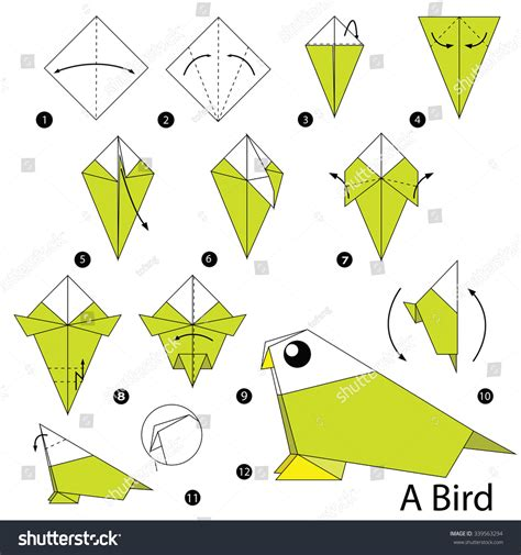 origami how to make a bird step by step how make stock vector 339563294