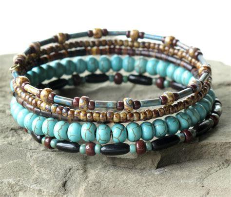 beaded stack bracelets beaded bracelet stack turquoise brown stacking bangles