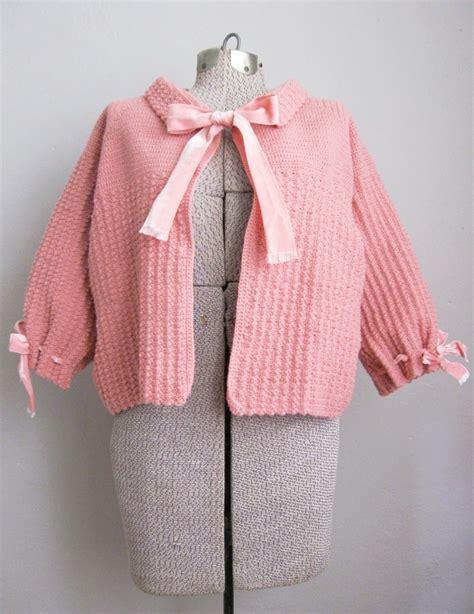 pink knit blazer vintage 1950s bed jacket pink knit ribbon vintage logic