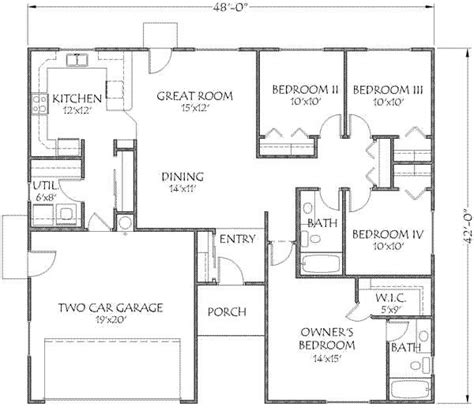 1500 sq ft house plans 17 best ideas about 4 bedroom house plans on