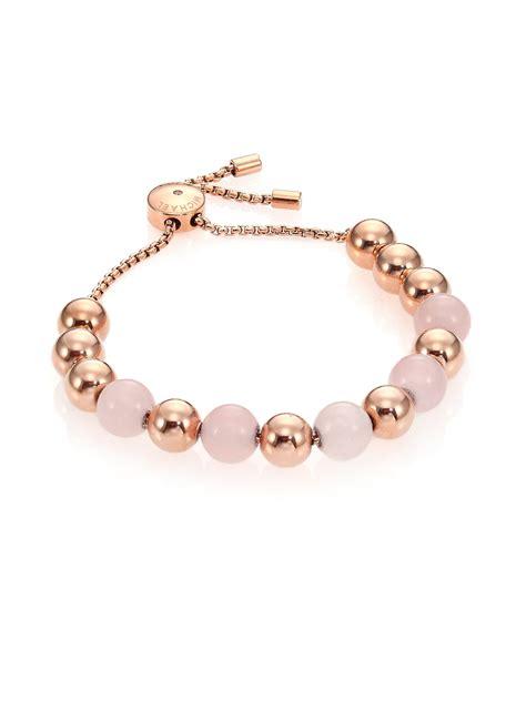 michael kors beaded bracelet uk michael kors beaded quartz slide bracelet in pink lyst