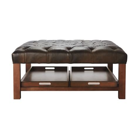 ottoman coffee table brown leather square tufted ottoman coffee table with