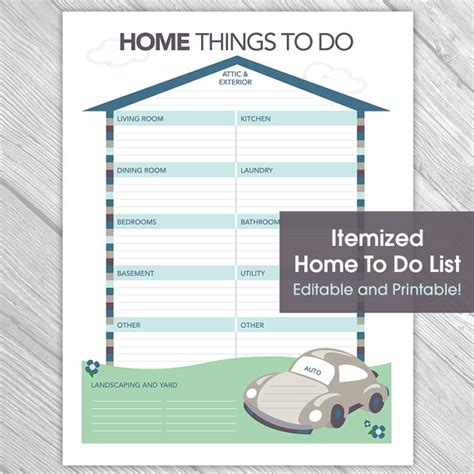 for to do at home printable editable home to do list things to do list home