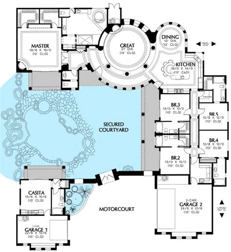 house plans with courtyard plan 16313md courtyard house plan with casita house plans bonus rooms and house