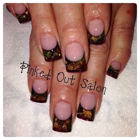 real tree tips camo nails using real leaves and twigs with burgundy tips