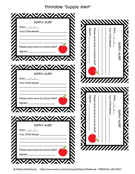free printable free printable pass and supply alert cards