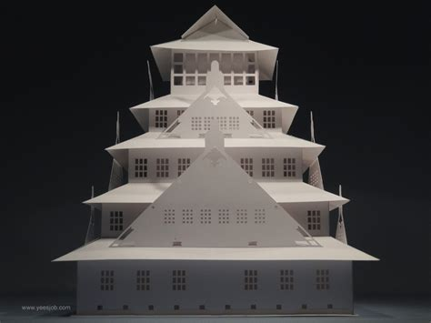origami castle the kingdom of origami architecture the osaka castle pop