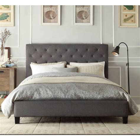 to king bed frame chester king padded linen fabric bed frame in grey buy