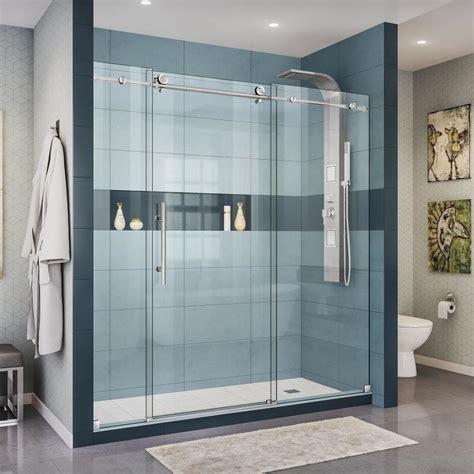 steel shower doors shop dreamline enigma x 68 in to 72 in frameless brushed