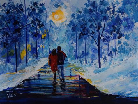 acrylic painting winter valerie curtiss artwork winter walk original painting