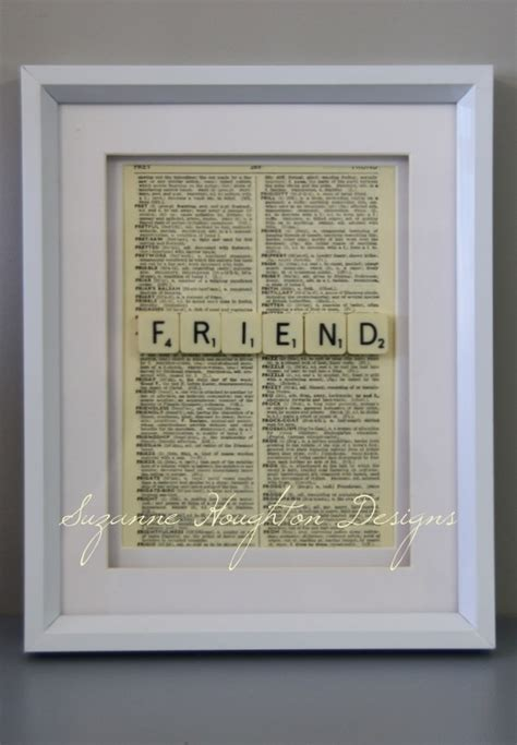 scrabble def quot friend quot scrabble tiles framed with a vintage dictionary