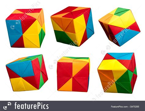 origami style image of paper cubes folded origami style