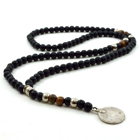 mens beaded necklaces mens black wooden beaded rosary necklace with silver metal