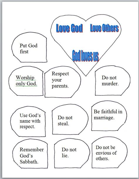 10 commandments crafts for free coloring pages of great commandment