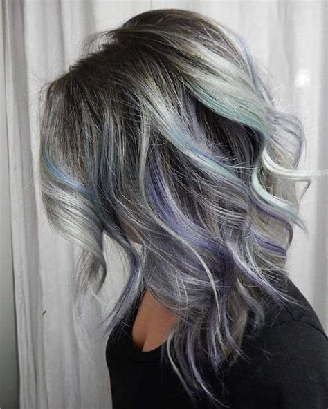 pictures of grey hairstyles with pink highlights grey highlights in dark brown hair