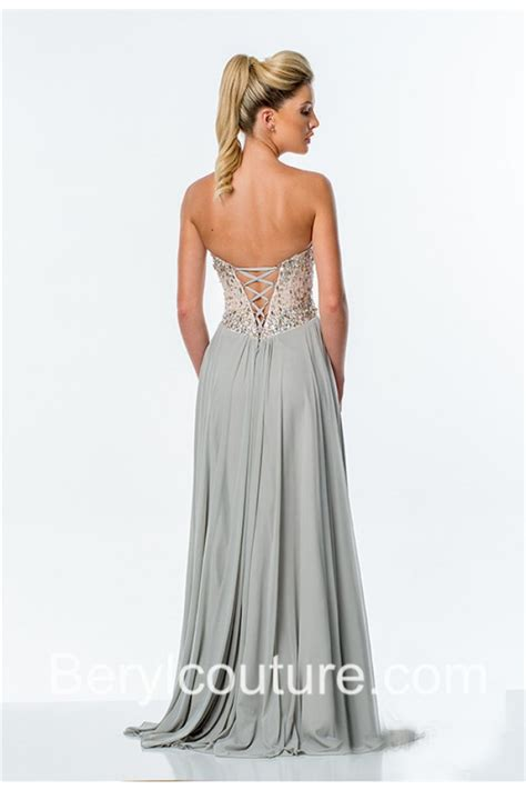 beaded corset prom dress a line strapless high slit silver chiffon beaded