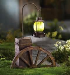 garden decoration lights western wagon wheel with solar lighted lantern outdoor