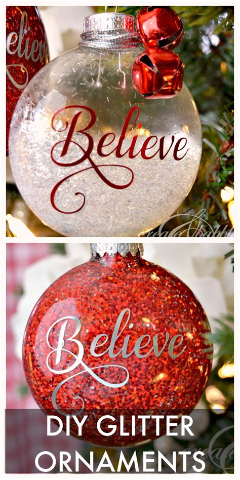tree decorations diy diy glitter ornaments create and babble