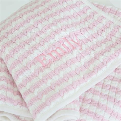 pink cable knit blanket personalised pink stripe cable knit blanket my 1st years