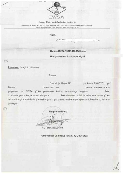 Authorization Letter Sample For Electric Bill business procedures in rwanda