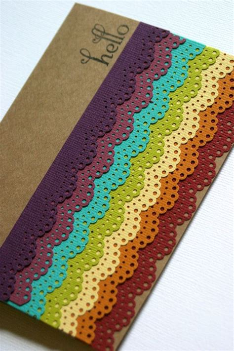 card punches rainbow card idea made with martha stewart doily lace