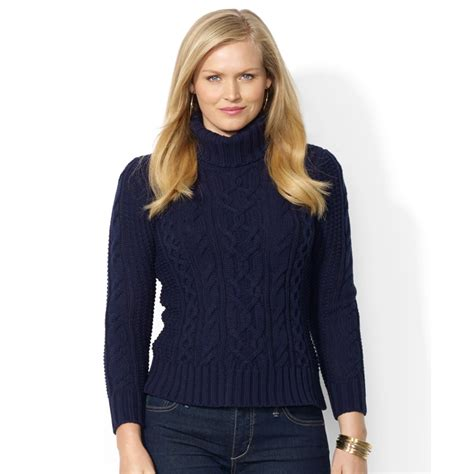 cable knit sweater plus size by ralph plus size cable knit turtleneck