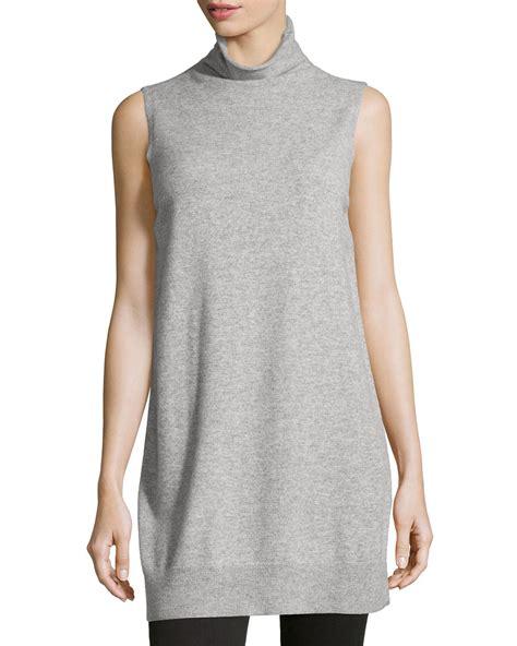 knit tunics neiman sleeveless knit tunic in gray lyst