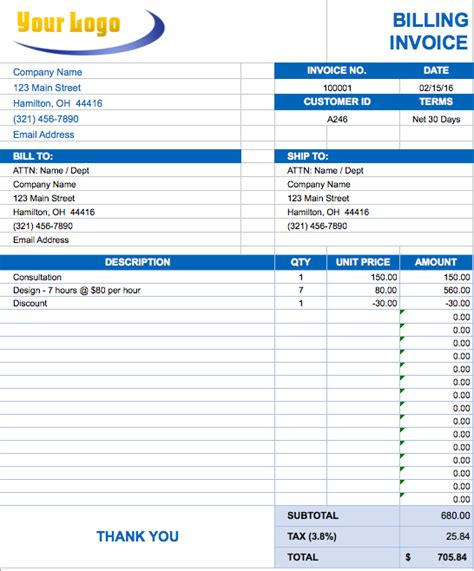 invoice templates excel 2010 printable templates free