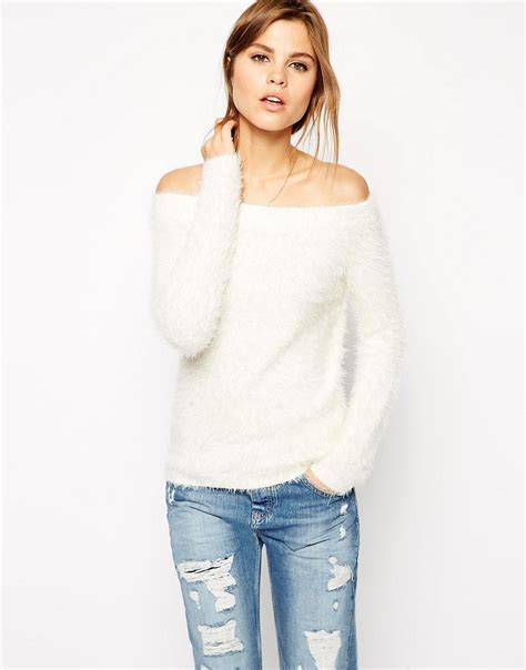 fluffy knit sweater asos asos shoulder sweater in fluffy knit at asos