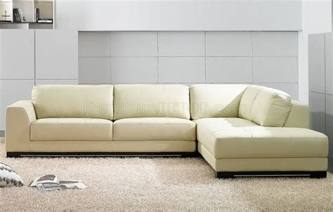 SF6573 Ivory Full Leather Modern Sectional Sofa by At Home USA