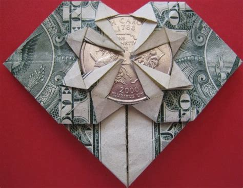money origami with quarter dollar bill origami w quarter 183 made from paper