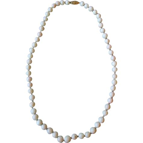 White Coral Bead Necklace With 14k Gold Clasp From