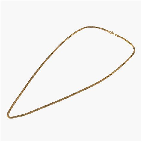 gold chain with black model gold chain 3d model