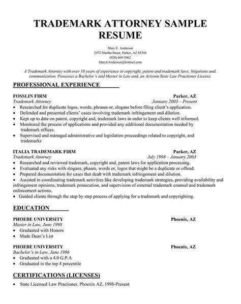 sample resume for trademark attorney resume pdf download - Patent Attorney Sample Resume
