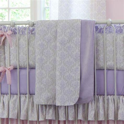 lilac damask crib bedding lilac and silver gray damask crib blanket carousel designs