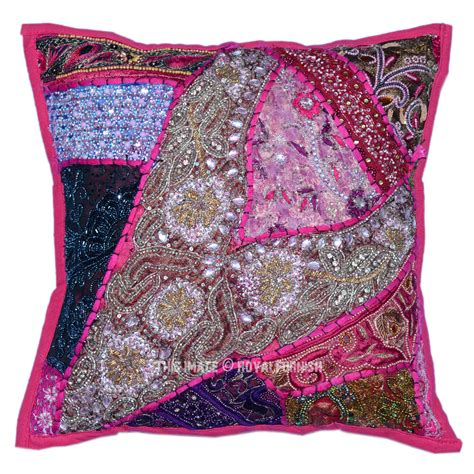 beaded decorative pillows 16x16 quot decorative accent handmade beaded indian throw
