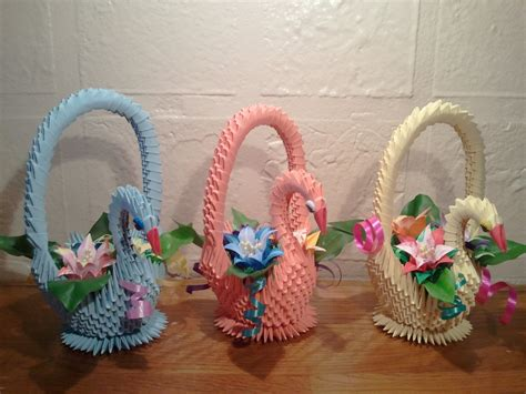 how to make origami flower basket 3d origami swan basket with flowers