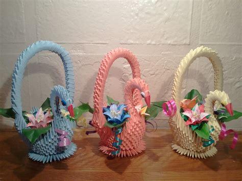 3d origami basket tutorial 3d origami swan basket with flowers