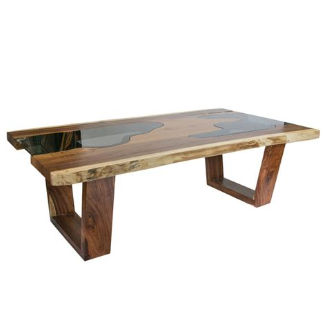 dining table contemporary live edge solid wood slab dining table with glass inserts
