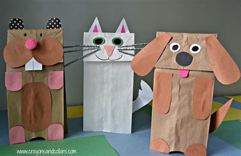 paper bag cat craft puppet show with mr george and miss www