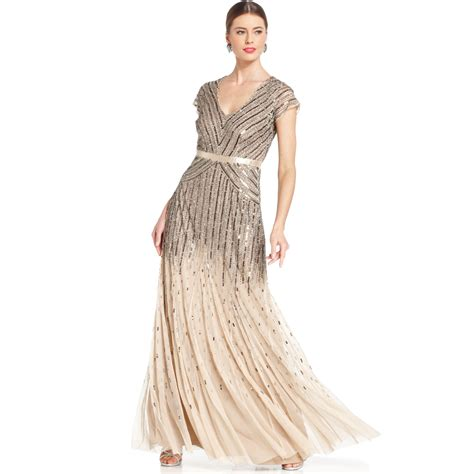 beaded gown papell capsleeve beaded sequined gown in