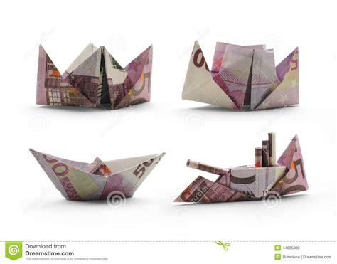origami ships origami ships of five hundred banknotes stock photo