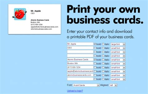 make your card for free create free business cards