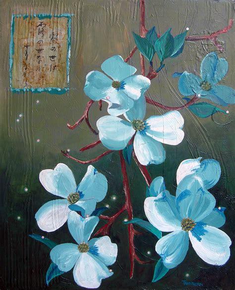 acrylic paint japanese dogwood flower greeting cards tanathorn