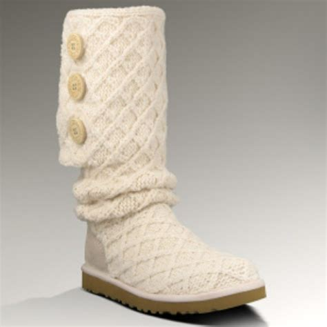 Ugg White Knit Boots