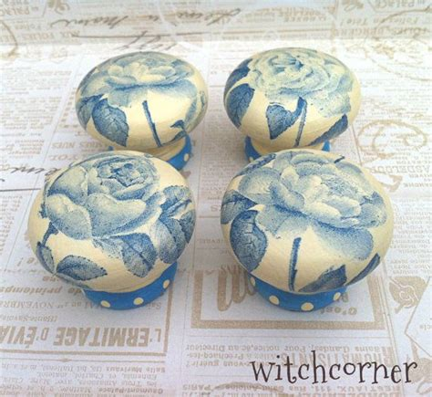 how to decoupage door knobs wooden door knob blue roses 45 mm drawer knob by