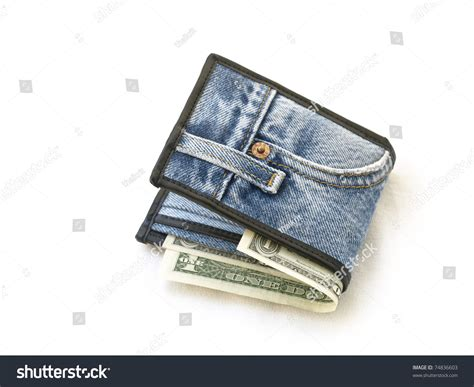 wallet made of wallet made jean stock photo 74836603