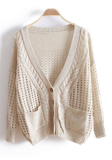 knitted cardigan beige hollow out bat sleeve knitted cotton cardigan