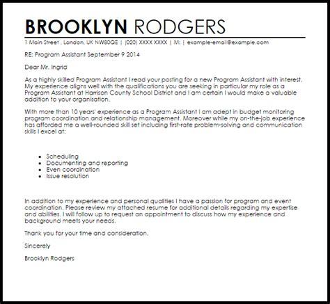 program assistant cover letter sample livecareer